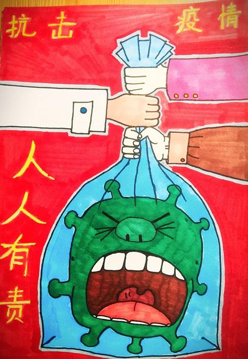 """小画笔大情怀——淄博市临淄区实验中学""""抗疫""""宣传画振奋人心"""